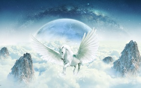Picture space, fiction, rocks, horse, magic, horse, planet, wings, horizon, fantasy, art, The Milky Way, the ...