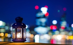 Picture stars, night, the city, background, fire, widescreen, Wallpaper, mood, lamp, candle, blur, the evening, beautiful, ...