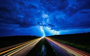 Picture road, night, lights, lightning