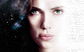 Picture Action, Sci-Fi, Face, Stars, Space, Beautiful, Abstraction, Girl, Eyes, Movie, Pretty, 2014, Wallpaper, Fantasy, Scarlett ...