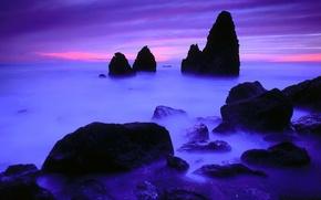 Wallpaper horizon, blue, shore, rocks, stones