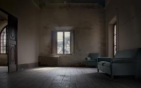 Wallpaper room, sofa, window