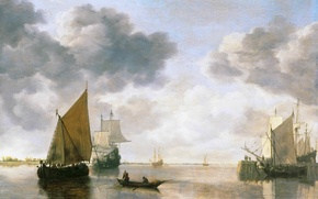 Picture picture, clouds, boat, ship, Simon Jacobsz de Vlieger, people, sailboat, sea, the sky, horizon, sail, ...