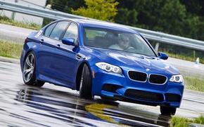 Picture road, BMW, slide, wet