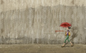 Picture girl, wall, umbrella