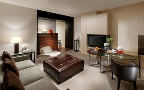 Picture style, sofa, room, interior, grey, glass, tables, TV, living room, brown, chairs, design