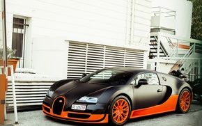 Picture house, Bugatti, veyron, supercar, Supersport, supercar, black, Bugatti, orange, Veyron, building, 16.4, supersport, black. orange
