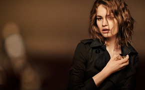 Picture background, model, perfume, makeup, advertising, actress, hairstyle, photographer, brown hair, cloak, Lily James, Lily James, …