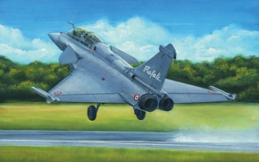 Picture art, painting, jet, Dassault Rafale