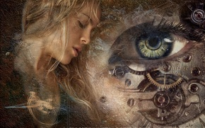 Picture girl, eyes, watch, mechanism, texture