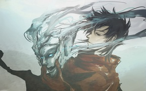 Picture the demon, mask, grey background, Ergo proxy, Ergo proxy
