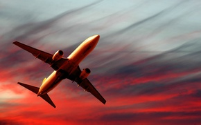 Wallpaper the plane, the sky, red, sunset