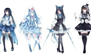 Picture flower, weapons, girls, cross, sword, hat, umbrella, anime, art, ears, loli