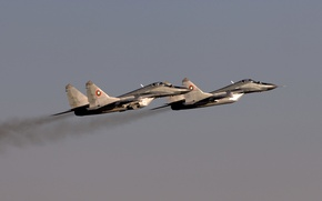 Wallpaper the sky, fighter, flight, The MiG-29
