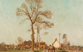 Picture road, trees, landscape, picture, Edward Seago, Village in Suffolk