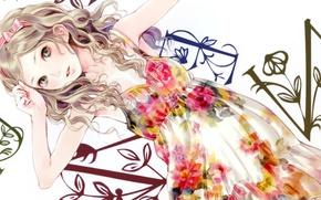 Picture girl, letters, background, dress, art, tape, bow, kishida mel
