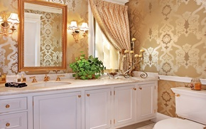 Picture interior, candles, mirror, bath, lamp, luxury, cabinets