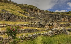 Picture the sky, grass, wall, ruins, Peru