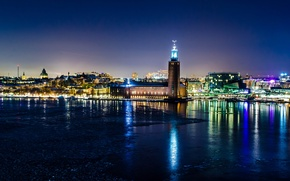 Picture lights, reflection, night, winter, town hall, Stockholm, Sweden