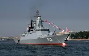 """Picture Saint Petersburg, parade, Corvette, patrol ship, The Baltic Fleet, """"Brisk"""""""