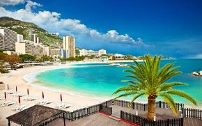 Picture sand, sea, beach, clouds, mountains, Palma, shore, home, Monaco, Monte Carlo