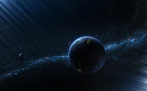 Wallpaper the moon, star cluster, planet, satellite