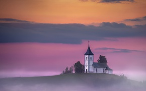Picture misty, twilight, sunset, hill, dusk, Slovenia, foggy, religion, Kranj, Jamnik, sacred place, Upper Carniola, Church …