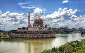 Picture landscape, river, The city, mosque, Kuala Lumpur