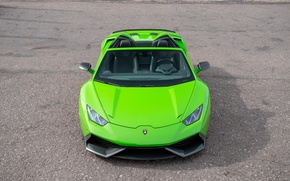 Wallpaper machine, green, lights, Lamborghini, the hood, bumper, Spyder, the front, Lamborghini, Novitec, Torado, Huracan, carbon