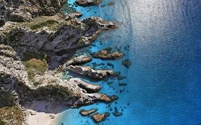 Wallpaper Sunny, the view from the top, Italy, coast, sea, Sunny Shore, Aerial view, Capo Vaticano, ...