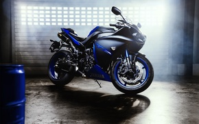Picture Yamaha, Blue, Sun, Lights, YZF-R1, Superbike, Motorcycle, Foggy