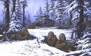 Picture battle, 1944, ww2, battle of bulge, second wolrd war, ardennes, airborne 101
