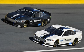 Picture two, track, Ford, Fusion, landing, clearance, NASCAR