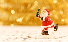 Picture Christmas, New year, Santa Claus, figure, bokeh, skating