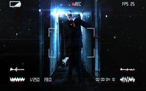 Picture house, rendering, dark, camera, corridor, horror, slender man