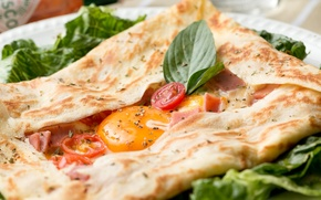 Picture egg, tomatoes, delicious, pita, Basil