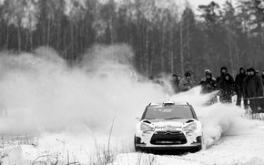Picture snow, Citroen, DS3, Citroen, black and white photo, Bryan Bouffier, ERC