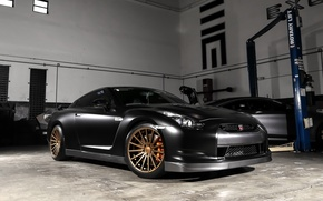 Picture GTR, Nissan, Black, Gold, Vossen, Wheels, Garage