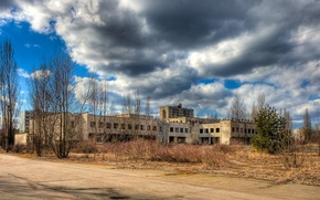 Picture road, the building, the bushes, Pripyat