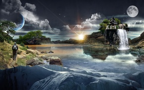 Picture WATER, The SKY, CLOUDS, HOUSE, PLANET, The MOON, RIVER, REFLECTION, TREES, ISLAND, WATERFALL, ELEPHANT, The ...