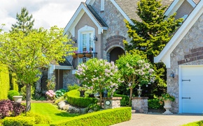 Picture greens, grass, flowers, design, house, stones, lawn, mansion, the bushes