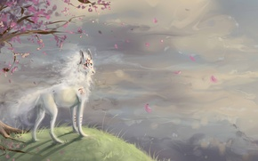 Picture open, tree, wolf, Sakura, characters, hill, art