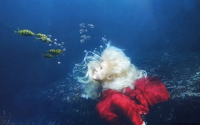 Picture sea, water, girl, fish, under water, photoart