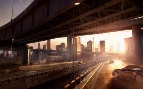 Picture the sky, the sun, light, machine, bridge, city, the city, fiction, figure, building, road, sky, …