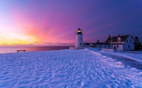 Picture winter, the sky, snow, sunset, traces, shore, lighthouse, England, shop, structure, Bristol