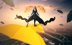 Picture girl, umbrellas, gait