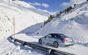Picture winter, road, mountains, Mercedes Benz, E cabrio