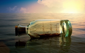 Picture sea, the sky, water, river, background, Wallpaper, mood, boat, ship, bottle, wallpaper, sea, the ship, …
