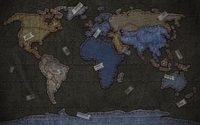 Wallpaper labels, thread, jeans, map