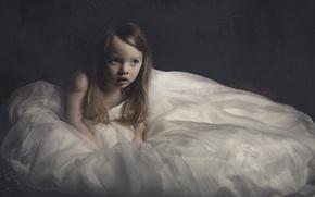 Picture dress, girl, big dress, Little girl